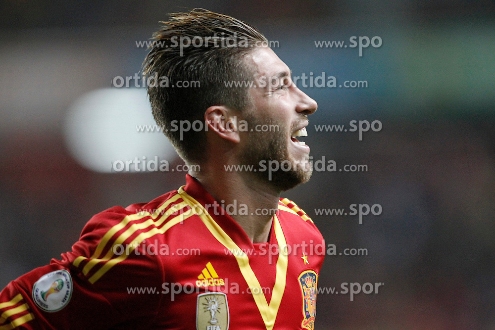 22.03.2013, El Molinon, Gijon, ESP, FIFA WM Qualifikation, Spanien vs Finnland, im Bild Spain's Sergio Ramos celebrates goal // during the FIFA World Cup Qualifier Match between Spain and Finland at the El Molinon Stadium, Gijon, Spain on 2013/03/22. EXPA Pictures © 2013, PhotoCredit: EXPA/ Alterphotos/ Acero..***** ATTENTION - OUT OF ESP and SUI *****