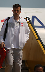 25.05.2010, Airport Salzburg, Salzburg, AUT, WM Vorbereitung, Serbien Ankunft im Bild Antonio Rukavina Nationalteam Serbien, EXPA Pictures © 2010, PhotoCredit EXPA R. Hackl / SPORTIDA PHOTO AGENCY