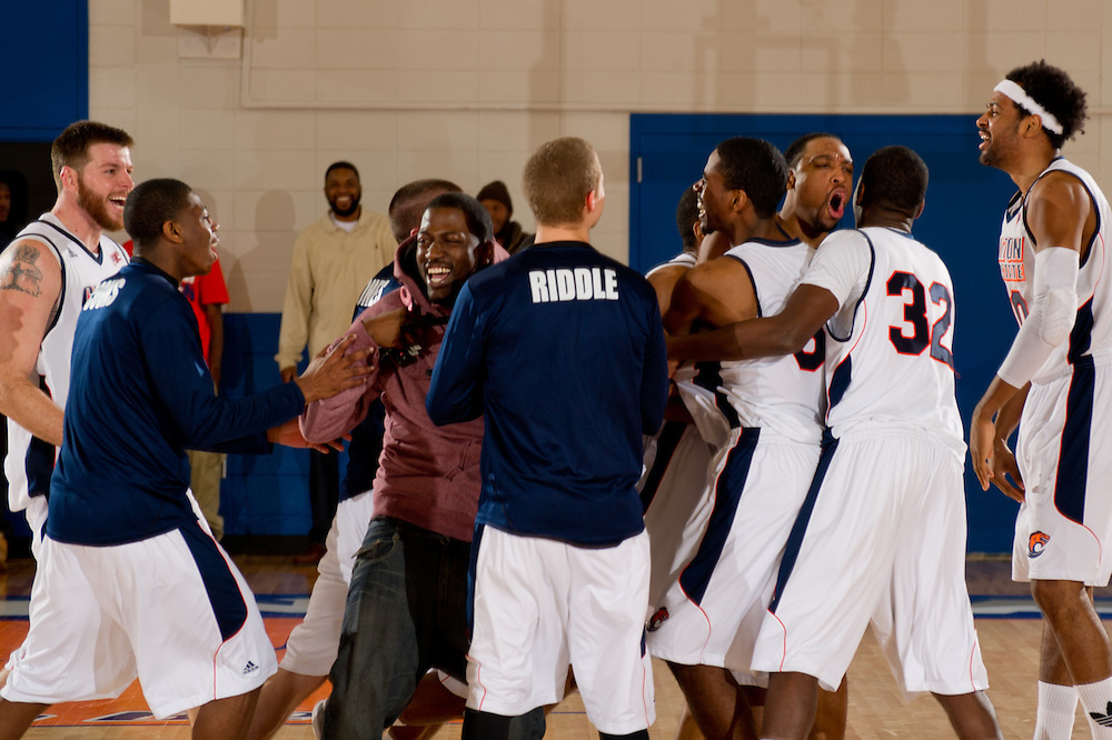 Feb. 09, 2013; Morrow, GA, USA; Clayton State men's basketball players celebrate defeating Montevallo at CSU. Photo by Kevin Liles/kdlphoto.com