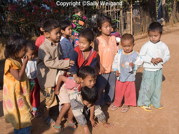 Burmese school children in a group; Tachilek; Myanmar