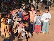 Burmese school children in a group; Tachilek; Myanmar