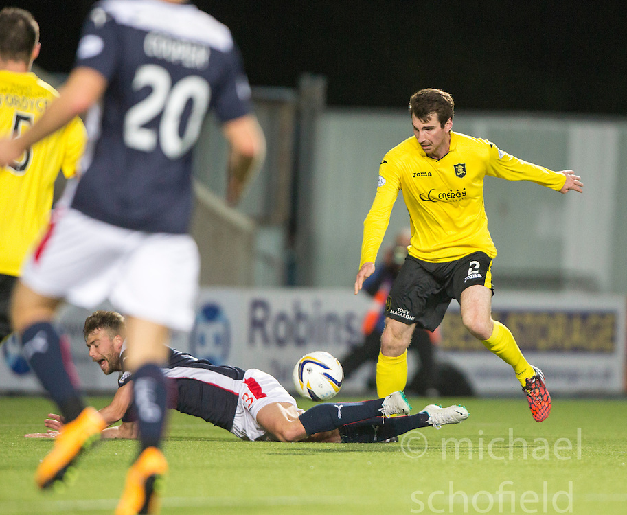 Falkirk's Rory Loy brought down by  Livingston Craig Sives for a penalty claim.<br /> Falkirk 0 v 0  Livingston, Scottish Championship game played 21/10/2014 at The Falkirk Stadium.