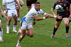 Anthony Watson drops the ball. Stade Toulousain v Bath, European Champions Cup 2015, Stade Ernest Wallon, Toulouse, France, 18th Jan 2015.