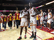 Nov 8, 2019; Los Angeles, CA, USA; Southern California Trojans guard Jonah Mathews (2) and forward Onyeka Okongwu (21) pose after the game against the Portland Pilots  at Galen Center USC defeated Portland State 76-65.