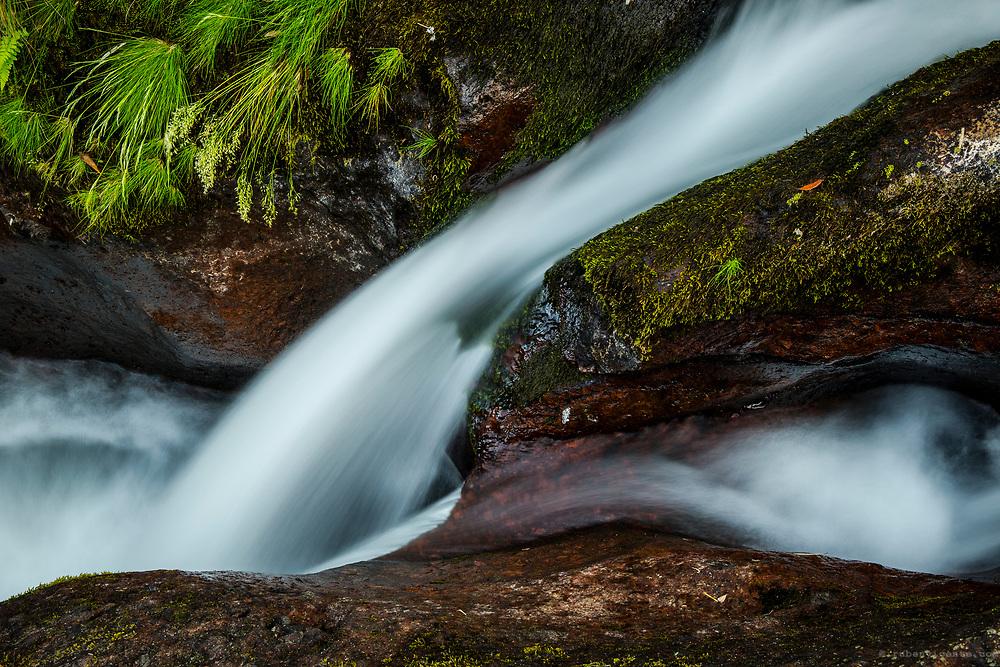 Small cascade at Ribeira da Alagoa. Flores, Azores, Portugal