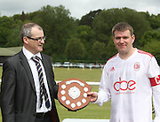 AC Harleys captain Ryan Moran receives the 1st division championship trophy from League secretary Steve McSwiggan - Dundee Saturday Morning FA - Super Saturday at Dundee UNI<br /> <br />  - &copy; David Young - www.davidyoungphoto.co.uk - email: davidyoungphoto@gmail.com
