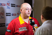 Andrew Gilding post match press interview during the First Round of the BetVictor World Matchplay Darts at the Empress Ballroom, Blackpool, United Kingdom on 19 July 2015. Photo by Shane Healey.