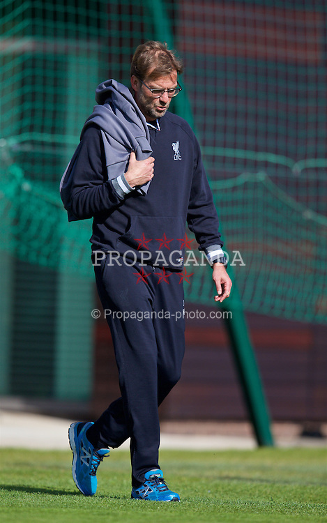 LIVERPOOL, ENGLAND - Wednesday, May 4, 2016: Liverpool's manager Jürgen Klopp walks out for a training session at Melwood Training Ground ahead of the UEFA Europa League Semi-Final 2nd Leg match against Villarreal CF. (Pic by David Rawcliffe/Propaganda)