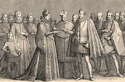 The marriage of Francis de Medici, Grand Duke of Tuscany (1541-1587) and Joanna of Austria, daughter of Emperor Ferdinand 1 (1565). After engraving by Jacques Callot.