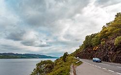 THEMENBILD - Blick auf den See mit der Strasse die um ihn herum führt, Loch Ness, Drumnadrochit, Schottland, aufgenommen am 05.06.2015 // View of the lake with the road that runs around it, Loch Ness, Drumnadrochit, Scotland on 2015/06/05. EXPA Pictures © 2015, PhotoCredit: EXPA/ JFK