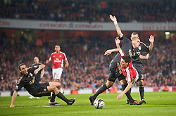 LONDON, ENGLAND - Wednesday, October 28, 2009: Liverpool's Martin Skrtel and Arsenal's Samir Nasri during the League Cup 4th Round match at Emirates Stadium. (Photo by David Rawcliffe/Propaganda)