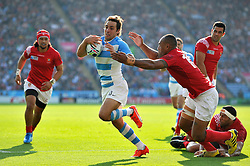 Nicolas Sanchez of Argentina takes on the Tonga defence - Mandatory byline: Patrick Khachfe/JMP - 07966 386802 - 04/10/2015 - RUGBY UNION - Leicester City Stadium - Leicester, England - Argentina v Tonga - Rugby World Cup 2015 Pool C.