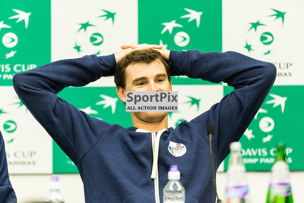 Jamie Murray talks during the press conference after winning the Davis Cup Semi-final between Great Britian and Australia (c) ROSS EAGLESHAM | Sportpix.co.uk
