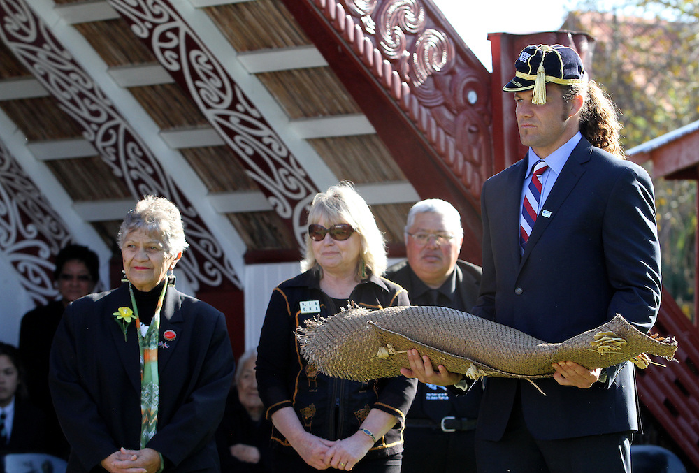 The American Eagles, United States rugby team are welcomed at Putiki Marae, Wanganui, New Zealand, Sunday September 04, 2011. Photo: SNPA / John Cowpland