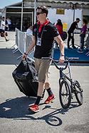 Swiss coach, Grant White, arriving on race day at the 2018 UCI BMX World Championships in Baku, Azerbaijan.