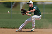 West Deptford's Chris Dillaquilla fields the ball and gets the force out at 1st base in the 1st inning during a elimination bracket game of the Eastern Regional Senior League tournament held in West Deptford on Monday, August 8.