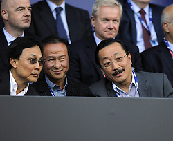 Cardiff City owner Vincent Tan with guests - Photo mandatory by-line: Joe Meredith/JMP - Mobile: 07966 386802 12/08/2014 - SPORT - FOOTBALL - Cardiff - Cardiff City Stadium - Real Madrid v Sevilla - UEFA Super Cup