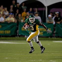 10 September 2009:  Southeastern Louisiana Lions linebacker Quinten Pierre (3) returns an interception during a game between Southeastern Louisiana University Lions and Union College at Strawberry Stadium in Hammond, Louisiana.