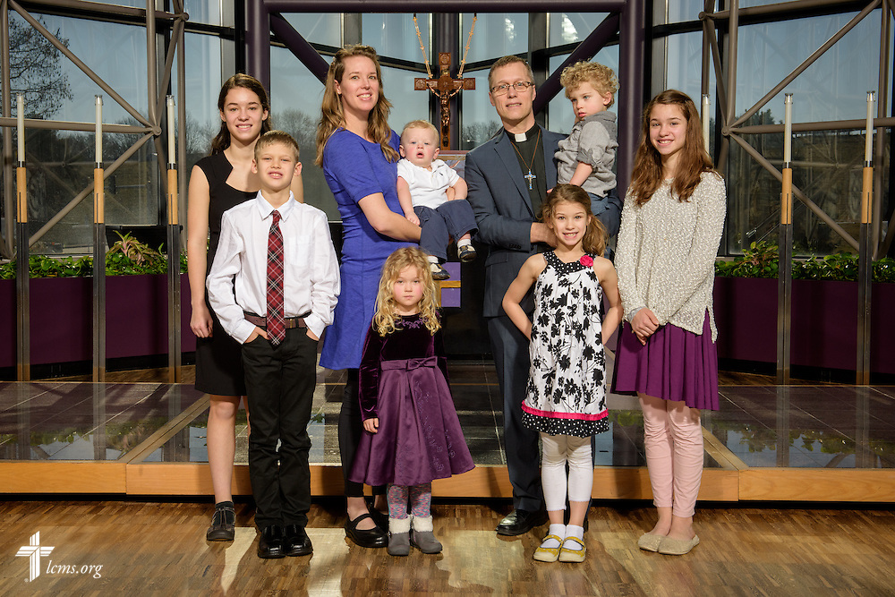 Portrait of the Rev. Clint Hoff and his family at the International Center chapel of The Lutheran Church–Missouri Synod on Monday, Feb. 29, 2016, in Kirkwood, Mo. LCMS Communications/Erik M. Lunsford