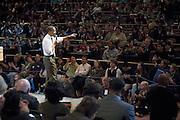 Illinois Senator and presedential candidate Barack Obama answers questions from the crowd gathered at the Grand Sierra Resort in Reno, NV, Thursday, October 18, 2007, during  a town-hall style meeting.