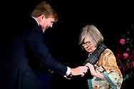 AMSTERDAM - King Willem-Alexander hands out the Erasmus Prize in the Royal Palace to the American journalist and writer Barbara Ehrenreich. copyrught robin utrecht