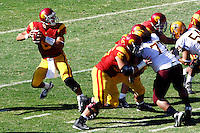 11 October 2008: Quarterback #6 Mark Sanchez with the football elevated view during the NCAA Pac-10 USC Trojans 28-0 shut-out win over the Arizona State University Sun Devils during a day college football game at the Los Angeles Memorial Coliseum in Southern California.