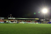 AFC Wimbledon stand and floodlight during the The FA Cup third round replay match between AFC Wimbledon and Sutton United at the Cherry Red Records Stadium, Kingston, England on 17 January 2017. Photo by Matthew Redman.