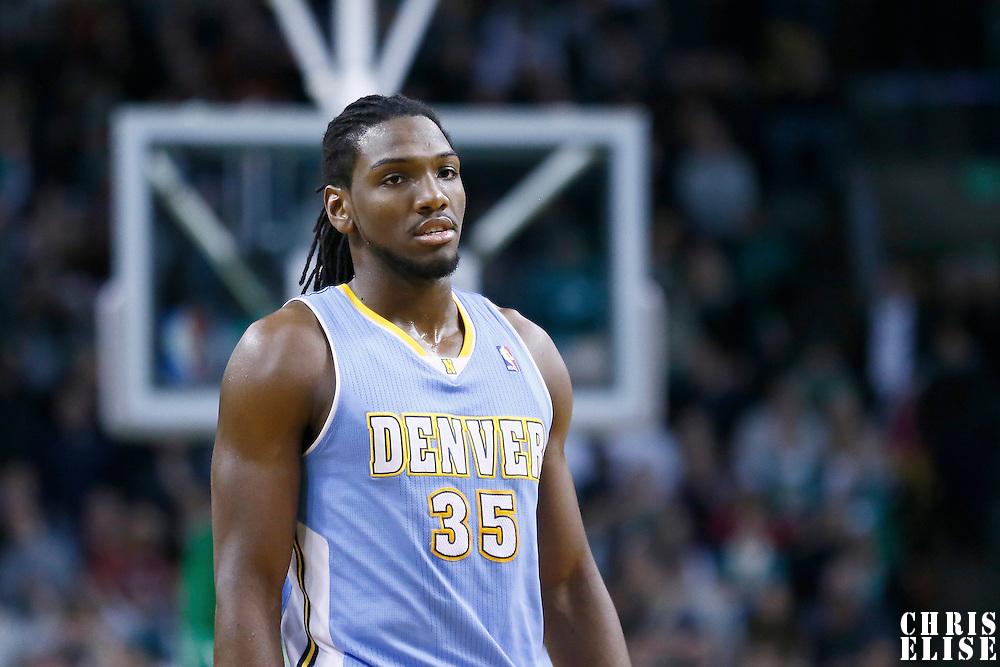 10 February 2013: Denver Nuggets small forward Kenneth Faried (35) is seen during the Boston Celtics 118-114 3OT victory over the Denver Nuggets at the TD Garden, Boston, Massachusetts, USA.