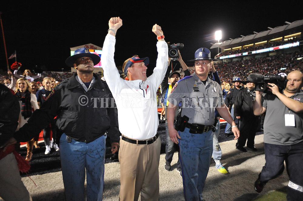 Ole Miss Rebels head coach Hugh Freeze vs. Mississippi State at Vaught-Hemingway Stadium in Oxford, Miss. on Saturday, November 29, 2014. Ole Miss won 31-17.
