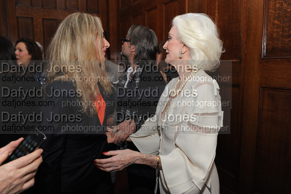 SAMANTHA BLRNK; CARMEN DELL'OREFICE; , London College of Fashion hosts party to celebrate the opening of Carmen: A Life in Fashion with guest of honour Carmen Dell'Orefice. Il Bottachio, Hyde Park Corner. London. 16 November 2011. <br /> <br />  , -DO NOT ARCHIVE-© Copyright Photograph by Dafydd Jones. 248 Clapham Rd. London SW9 0PZ. Tel 0207 820 0771. www.dafjones.com.