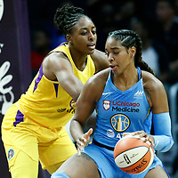 LOS ANGELES, CA - JUN 30: Nneka Ogwumike (30) of the Los Angeles Sparks is seen on defense during a game on June 30, 2019 at the Staples Center, in Los Angeles, California.