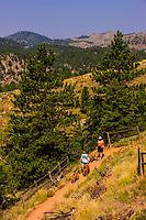 Hikers walking their dogs on Eldorado Canyon Trail, Eldorado Canyon State Park, Eldorado Springs, near Boulder, Colorado USA. Eldorado Canyon is a world famous trad rock climbing area.