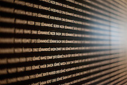Names of killed and missing people exhibited at the Gallery 11/07/95 exhibition space in Sarajevo aiming to preserve the memory on Srebrenica tragedy and 8372 persons who tragically lost their lives during the genocide.
