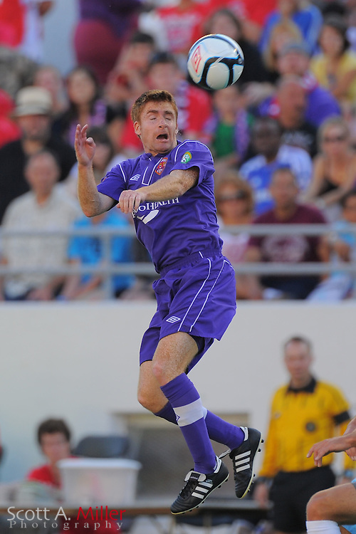 Orlando City midfielder James O'Connor (17) in action during the first half of City's game against the Wilmington Hammerheads at the Citrus Bowl on April 15, 2012 in Orlando, Fla. ..©2012 Scott A. MIller).