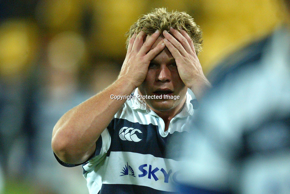 Auckland's  Daniel Braid shows his feelings after the Wellington Lions 27-21 win over Auckland on Saturday night at the Westpac Stadium, Wellington, New Zealand. NPC Div 1 <br /> 11 September 2004<br /> Photo: Marty Melville/Photosport