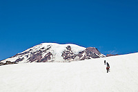 A line of climbers makes their way up the Muir snow field as they climb Mount Rainier, Washington, USA.