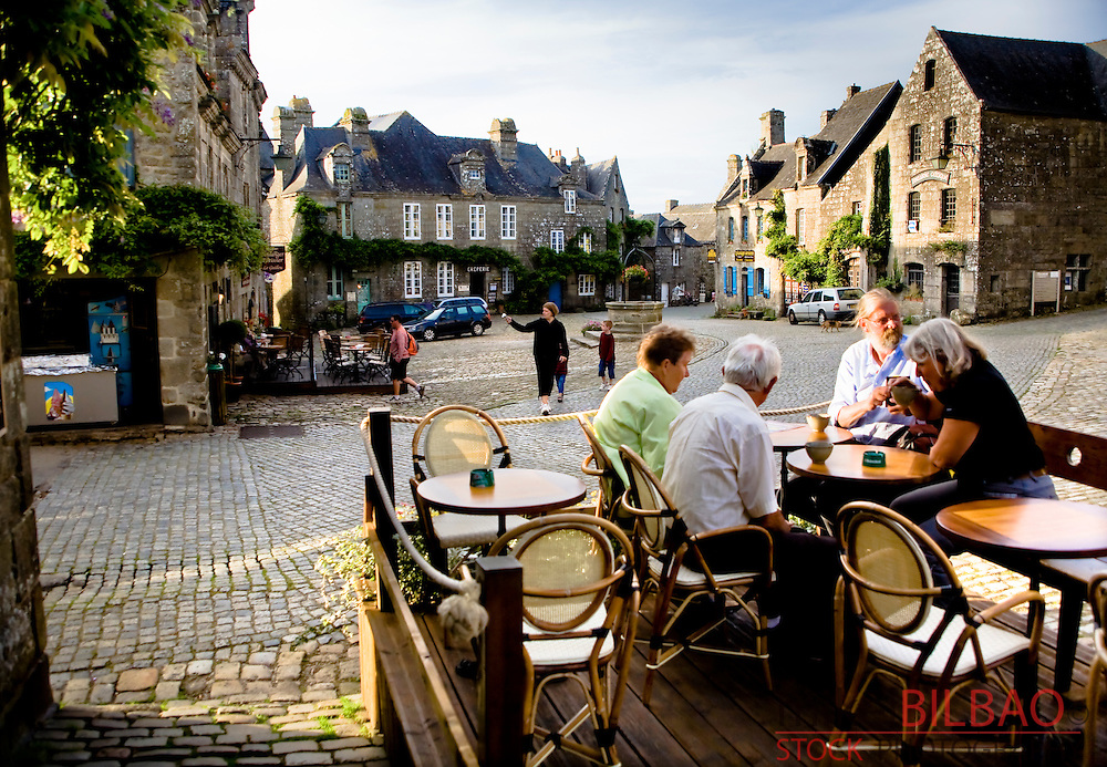 Street view.<br /> Locronan, Finist&egrave;re, Brittany, France.