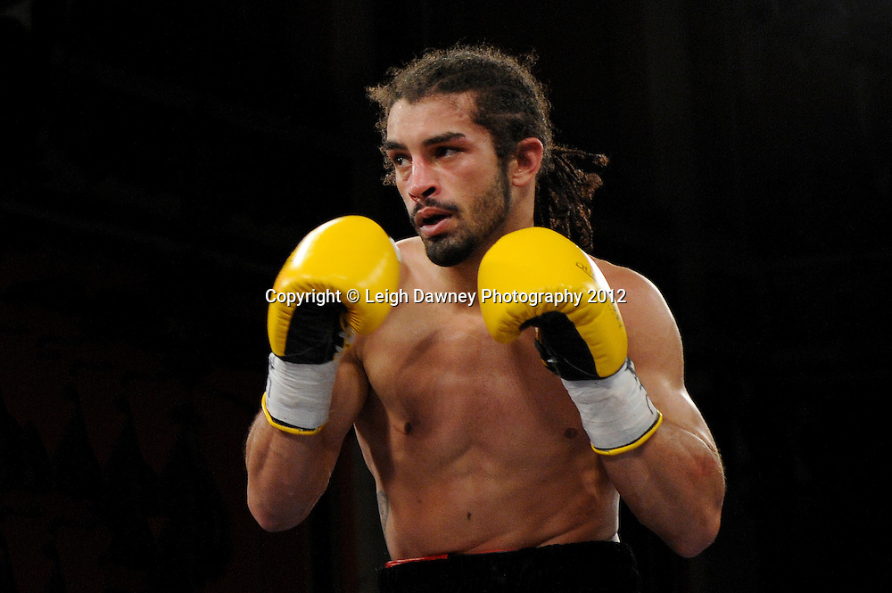 Jason Ball (pictured) defeats Steve Harkin in a 10x3 min Light Middleweight contest at Olympia, Liverpool on the 20th January 2012. Vaughan Boxing Promotions. © Leigh Dawney Photography 2012.