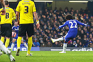 Willian of Chelsea (right) scores the opening goal against Watford during the FA Cup match at Stamford Bridge, London<br /> Picture by David Horn/Focus Images Ltd +44 7545 970036<br /> 04/01/2015