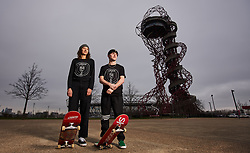 Helena Long and Alex Decunha during the Street League Skateboarding World Tour media launch at the ArcelorMittal Orbit, London.