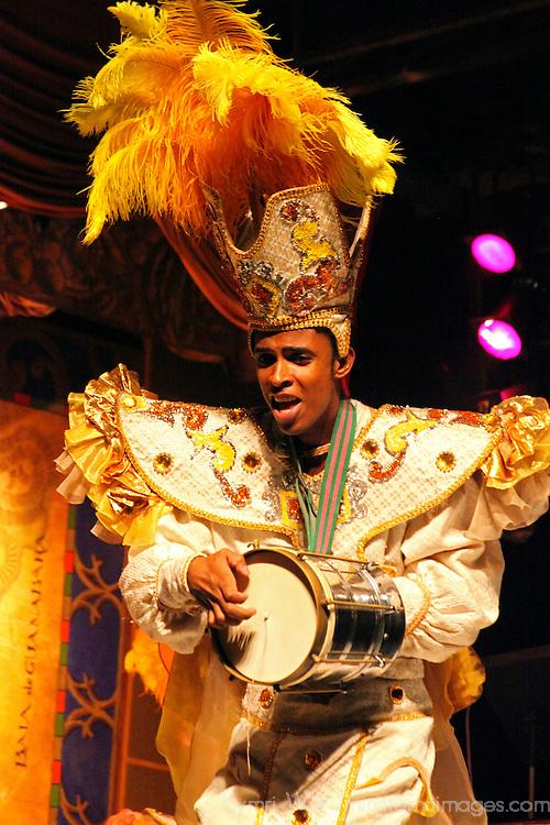 South America, Brazil, Rio de Janerio. Male percussionist musician in the Plataforma Samba Show in Rio.