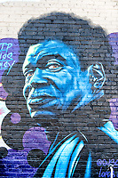 Blue Man mural in the River Arts District.