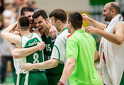 Players of Krka celebrate after winning during basketball match between KK Krka and KK Petrol Olimpija in 22nd Round of ABA League 2018/19, on March 17, 2019, in Arena Leon Stukelj, Novo mesto, Slovenia. Photo by Vid Ponikvar / Sportida
