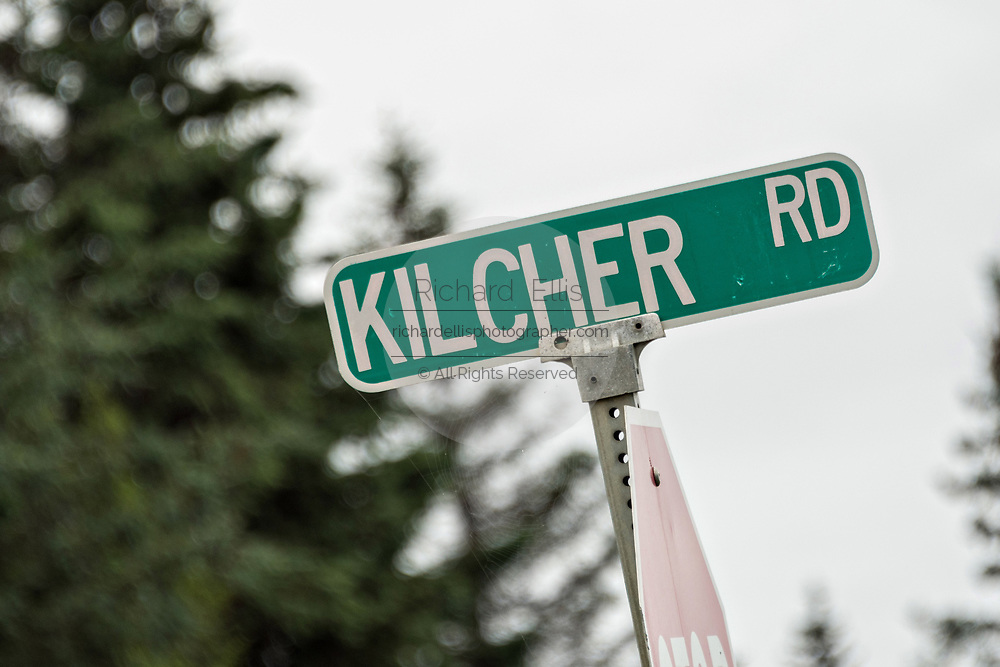 Kilcher Road marking the start of the Kilcher Homestead in remote Fritz Creek, Alaska. The Kilchers are original homesteaders and stars of the reality television show Alaska the Last Frontier show.