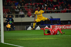 December 5, 2017 - Athens, Attiki, Greece - Silvio Proto (no 24) goalkeeper of Olympiacos,stops the effort of Juan Cuadrado (no 7) of Juventus. (Credit Image: © Dimitrios Karvountzis/Pacific Press via ZUMA Wire)