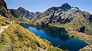 Lake Harris, and Mount Xenicus, on the Routeburn Track, Mount Aspiring National Park, South Island, New Zealand. In 1990, UNESCO honored Te Wahipounamu - South West New Zealand as a World Heritage Area. Panorama stitched from 2 overlapping photos.