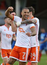 Kyle Vassell of Blackpool (left) celebrates scoring his sides opening goal with team-mate Callum Cooke - Mandatory by-line: Joe Dent/JMP - 18/11/2017 - FOOTBALL - ABAX Stadium - Peterborough, England - Peterborough United v Blackpool - Sky Bet League One