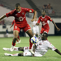 Orlando City Lions Forward Maxwell Griffin (11) jumps over Richmond Defender Henry Kalungi (25) during the United Soccer League Pro American Division Championship soccer match between the Richmond Kickers and the Orlando City Lions at the Florida Citrus Bowl on August 27, 2011 in Orlando, Florida. Orlando won the match 3-0 to advance to the USL Pro Final.  (AP Photo/Alex Menendez)