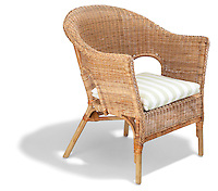 wicker chair with striped pillow