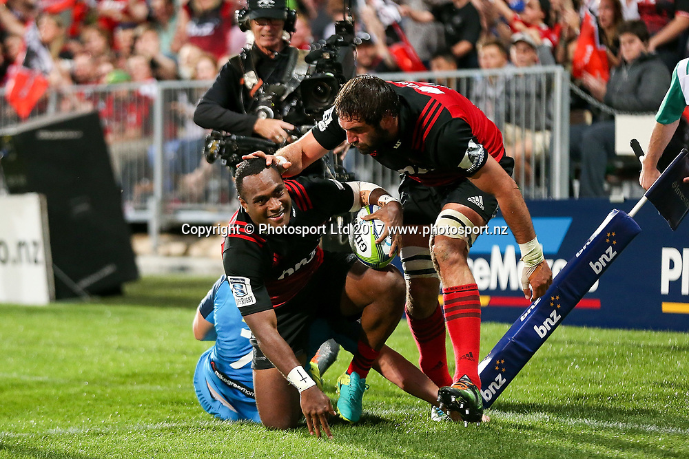 Manasa Mataele of the Crusaders celebrates after scoring a try. Super Rugby match, Blues v Crusaders at AMI Stadium, Christchurch, New Zealand. 17 March 2017 © Copyright Photo: Martin Hunter / www.photosport.nz